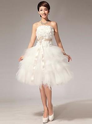 ボールガウン ウェディングドレス ホワイトドレス 膝丈 ストラップレス チュール とともに ビーズ / フラワー / サッシュ/リボン