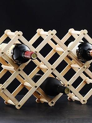 Elegáns skálázható és összecsukható elhelyezett 10 üveg bort fából bor rack (2 szín)