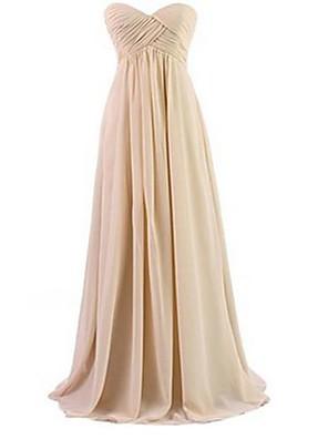 Lungo Chiffon Vestito da damigella - Formale Linea-A A cuore con A incrocio