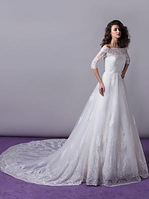 Lanting Bride® A-line / Princess Wedding Dress - Classic & Timeless / Elegant & Luxurious / Glamorous & Dramatic Cathedral Train