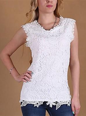 Women's Round Neck Lace Shirt, Cotton Blends Sleeveless