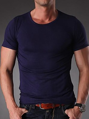 Men's Solid Casual / Work / Sport / Plus Sizes T-Shirt,Spandex / Others Short Sleeve-Black / Blue / Purple / White / Gray