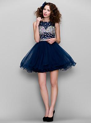 TS couture® 드레스 플러스 사이즈 / 구슬 장식과 라인 높은 목 짧은 / 미니 얇은 명주 그물 아담 형