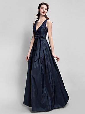 Lanting Bride® עד הריצפה טפטה שמלה לשושבינה  גזרת A צווארון וי פלאס סייז (מידה גדולה) / פטיט עם פפיון(ים) / סרט