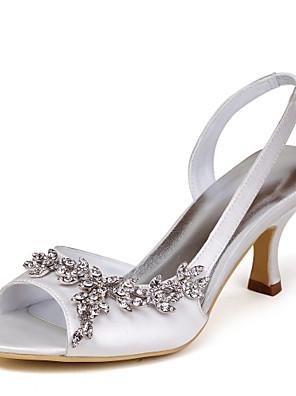 Magassarkú / Hátsó pántos - Stiletto - Női cipő - Szandál - Esküvői - Szatén / Streccs szatén - Elefántcsont / Fehér / Arany