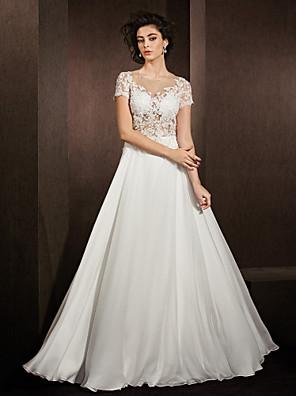 Lanting Bride® A-Linie Nadměrné velikosti / Drobná Svatební šaty Průsvitné Na zem Klenot Krajka / Saténový šifon s