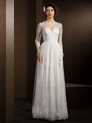 몸집이 작은 A 라인 신부 lanting / 플러스 웨딩 드레스 층 길이의 V 넥 레이스 / 얇은 명주 그물 크기