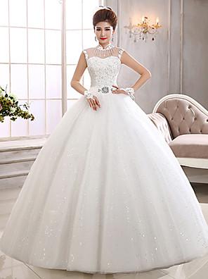 볼 드레스 웨딩 드레스 바닥 길이 하이 넥 튤 와 아플리케 / 스팽글