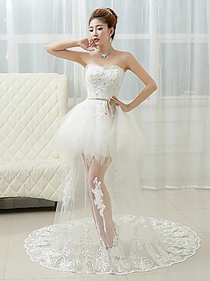 De Baile Vestido de Noiva Transparências Cauda Corte Coração Renda com