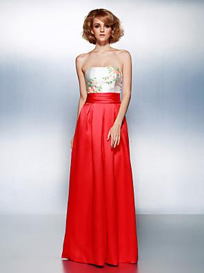 프롬 / 포멀 이브닝 드레스 시스 / 칼럼 끈없는 스타일 바닥 길이 새틴 와 비즈 / 허리끈/리본 / 루시 주름 장식