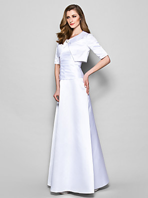 A-line Plus Size / Petite Mother of the Bride Dress - Wrap Included Floor-length Half Sleeve Satin with Crystal Brooch / Ruching