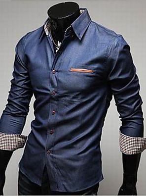 אנשיו של חולצה חלק כותנה / ג'ינס שרוול ארוך יום יומי / עבודה / רשמי כחול