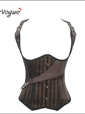 Burvogue Women's Steel Boned Vest Satin and Leather Bustier Brown Steampunk Corset
