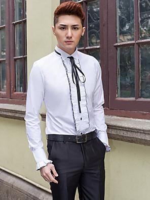 חולצה - חליפת ערב - Yksivärinen - שרוולים ארוכים ( לבן , כותנה/פוליאסטר )