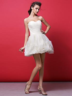 robe ts Couture® cocktail plus la taille / petite robe de bal sweetheart courte mini-organza / fleur (s) / criss cross / fronces