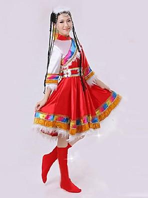 הופעות תלבושות בגדי ריקוד נשים ביצועים / אימון פוליאסטר אורך שרוול 3/4 טבעי שמלות / גרביונים / אביזרים לשיער / חגורה L:105cm,XL:106cm