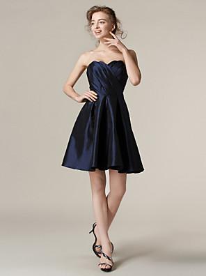 Lanting Bride® Krátký / Mini Taft Šaty pro družičky A-Linie / Princess Bez ramínek Větší velikosti / Malé s Křížení