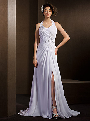 Lanting Bride® A-line Petite / Plus Sizes Wedding Dress Court Train Halter Chiffon with