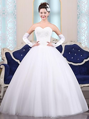 De Baile Vestido de Noiva Longo Coração Tule com