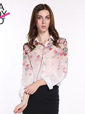 Vrouwen Eenvoudig Lente / Zomer / Herfst Overhemd,Casual/Dagelijks Bloemen Lange mouw Meerkleurig Polyester Transparant / Dun
