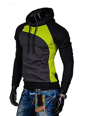 Men's Long Sleeve Hoodie & Sweatshirt , Cotton Blend Plaids & Checks / Pure