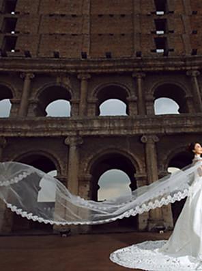Véus de Noiva Uma Camada Véu Catedral Borda com aplicação de Renda 181,1 cm (460 centímetros) Tule / Renda Branco / Marfim