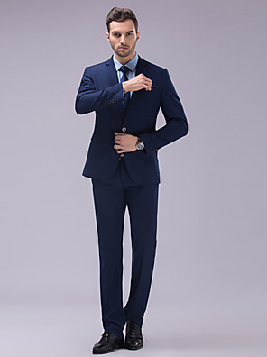 Suits Slim fit Tyndt hakrevers Single Breasted To-knap Polyester Ensfarvet 2 dele Mørkeblå Hvid