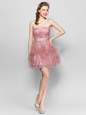Até os Joelhos Tule De Amarrar Vestido de Madrinha - De Baile Coração com Detalhes em Cristal / Babados