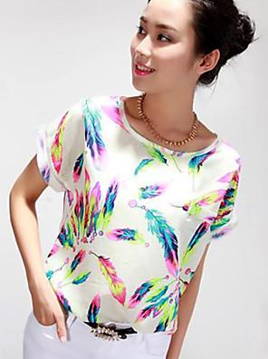 Chemisier Aux femmes,Imprimé Décontracté / Quotidien simple Toutes les Saisons Manches Courtes Col Arrondi Multi-couleur Polyester Fin