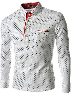 Masculino Camisa Social Casual / Trabalho / Formal / Tamanhos GrandesEstampado / Xadrez Algodão / Poliéster Manga Longa