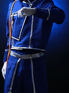 Inspirovaný Fullmetal Alchemist Roy Mustang Anime Cosplay kostýmy Cosplay šaty Jednobarevné Niebieski Kabát / Kalhoty / šála či šátek
