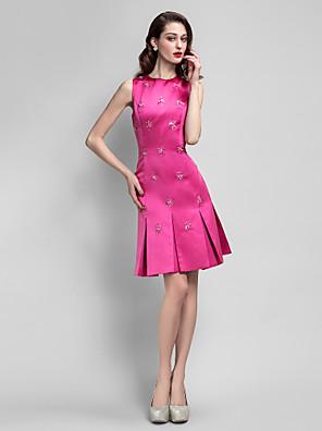 ts couture® vestido de cóctel del tamaño extra grande / pequeño de una línea de joyas de rodilla de raso con cuentas