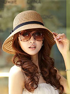 נשים וינטאג'/יומיומי קיץ תערובת כותנה/קש כובע שוליים רחבים פלופי