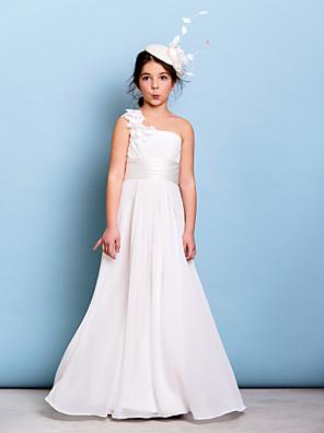 Lanting Bride® עד הריצפה שיפון שמלה לשושבינות הצעירות  גזרת A כתפיה אחת עם פרח(ים) / סרט / בד בהצלבה / סלסולים