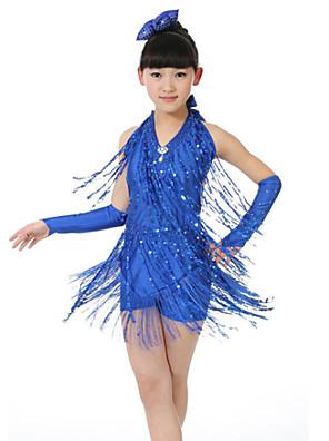ריקוד לטיני שמלות בגדי ריקוד ילדים ביצועים פוליאסטר נצנצים / גדיל (ים) 5 חלקים בלי שרוולים טבעי כפפות / שמלות / אביזרים לשיער / שורטים
