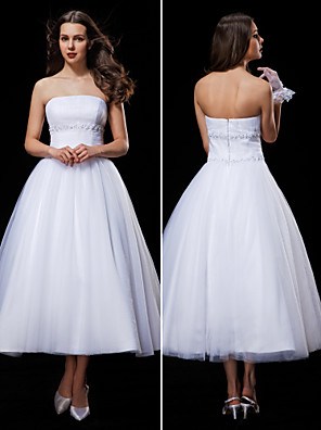 Lanting Bride® Ball Gown Petite / Plus Sizes Wedding Dress Tea-length Strapless Tulle with