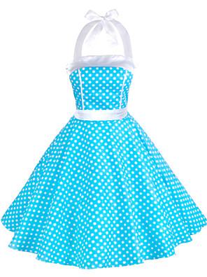 Women's Going out Vintage / Cute A Line / Skater Dress,Polka Dot Halter Knee-length Sleeveless Blue / Red / White / Black / Green Cotton
