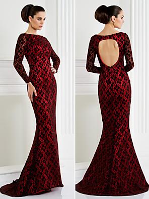 ts couture® formele avond / black tie gala jurk plus size / petite trompet / mermaid bateau sweep / borstel trein kant met