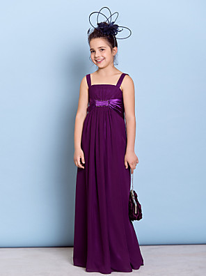 Floor-length Chiffon Junior Bridesmaid Dress Sheath / Column Straps with Beading