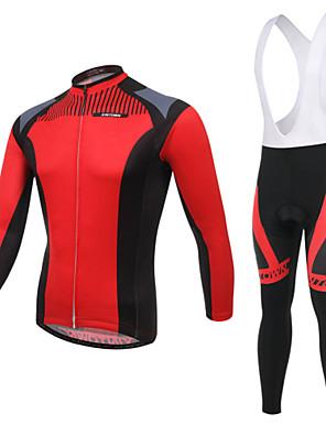 Cyklodres a čapáky se šlemi Pánské Dlouhé rukávy Jezdit na kole Prodyšné / Odolný vůči UV záření / Nositelný / 3D Pad / Zadní kapsa