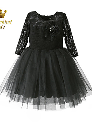 Girl Black Satin Tulle Lace Classical Belle Hand-made Dress
