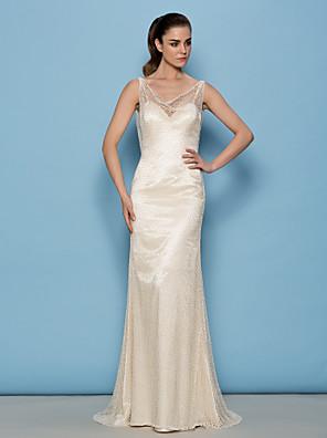 Lanting Bride® Sheath / Column Petite Wedding Dress See-Through Wedding Dresses Sweep / Brush Train Cowl Lace with