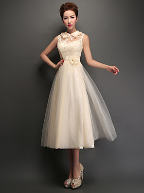 Tea-length Tulle Bridesmaid Dress - Lace-up A-line High Neck with Appliques / Lace