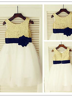 A-line Knee-length Flower Girl Dress - Chiffon Jewel with
