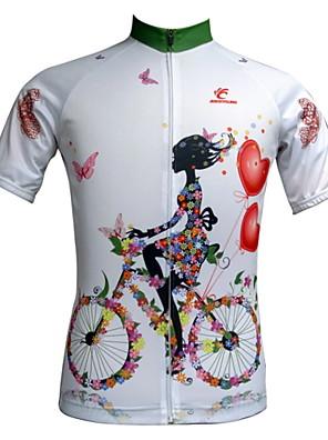 JESOCYCLING® Camisa para Ciclismo Mulheres Manga Curta MotoRespirável / Secagem Rápida / Resistente Raios Ultravioleta / Zíper Frontal /