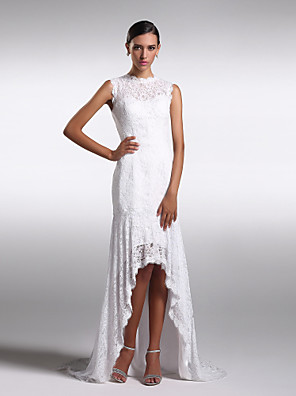 Formal Evening Dress Sheath / Column Jewel Asymmetrical Lace with Lace