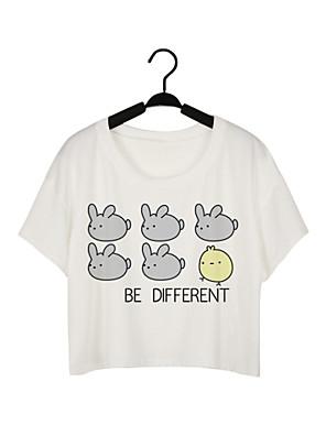 T-shirt Da donna Casual Moda città / Attivo Estate,Tinta unita Rotonda Poliestere Bianco Manica corta Medio spessore