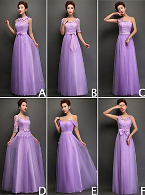 Floor-length Tulle Bridesmaid Dress - Convertible Dress / Lace-up Sheath / Column Off-the-shoulder with Lace
