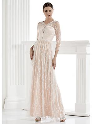 Lanting Bride Lanting Sheath/Column Wedding Dress - Ivory Floor-length V-neck Lace
