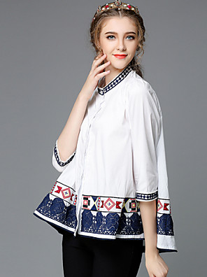 AOFULI Ethnic Style Women Fashion Autumn Embroidery Vintage Loose Patchwork Plus Size 3/4 Sleeve Blouse Shirt Tops